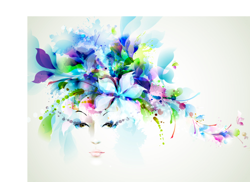 Watercolor Floral Girls Vector Background 01