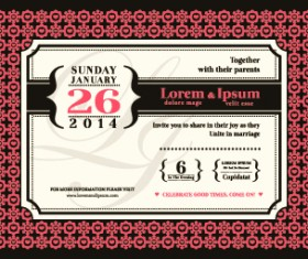 Wedding date invitations vector 01