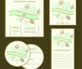 Wedding invitation with dvd kit design vector 01