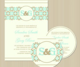 Wedding invitation with dvd kit design vector 02