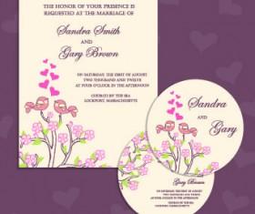 Wedding invitation with dvd kit design vector 04