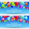 Colorful balloons holiday banner vector set 07