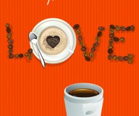 I love coffee theme poster design vector 03