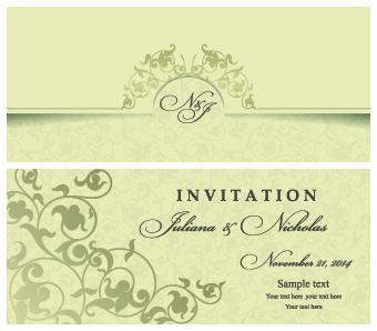 Retro floral wedding invitation cards vector 01