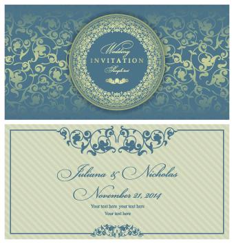 Retro floral wedding invitation cards vector 05
