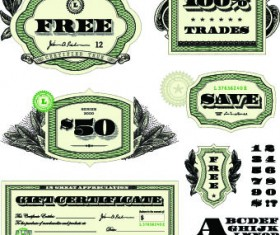 Money template and label design vector 01