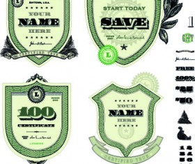 Money template and label design vector 03