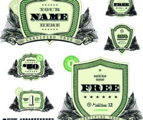 Money template and label design vector 04