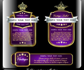 Royal luxury labels vector graphics 02