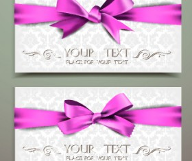 Beautiful pink bow cards vector 02