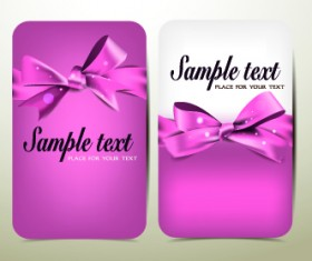 Beautiful pink bow cards vector 03