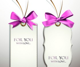 Beautiful pink bow cards vector 04