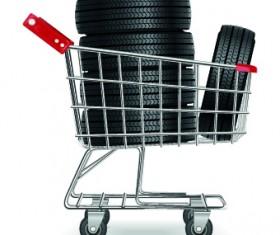 Realistic car tires illustration design vector 02