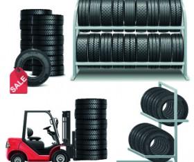 Realistic car tires illustration design vector 05