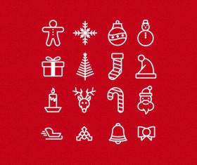 Cute christmas icons vector set