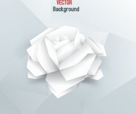 White paper rose vector background