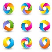Link toAbstract colored spherical logos design vector 03