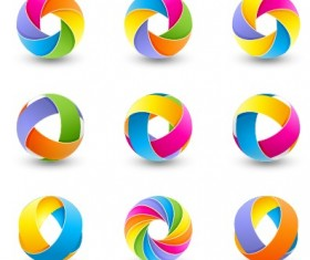 Abstract colored spherical logos design vector 03