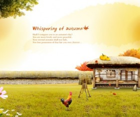 Autumn farm psd background art