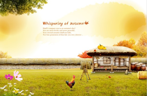 Autumn Farm Psd Background Art Free Download