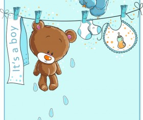 Cute bears baby cards design vector 01