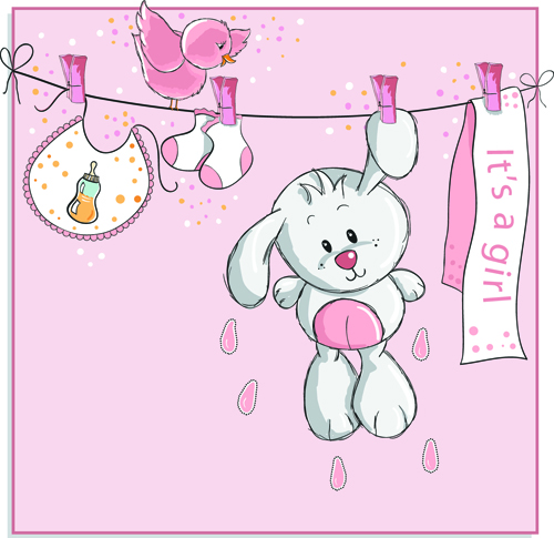 Cute Bears Baby Cards Design Vector 03 Vector Card Free