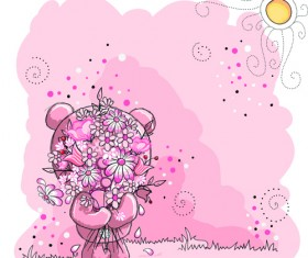 Cute bears baby cards design vector 04