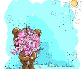Cute bears baby cards design vector 05