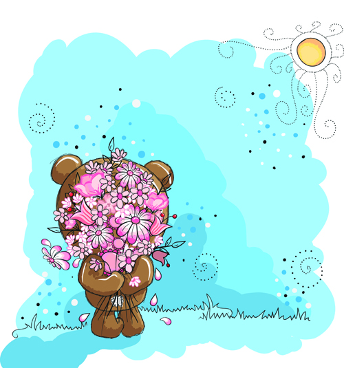 Cute bears baby cards design vector 05