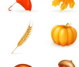 Beautiful autumn elements vector set 03