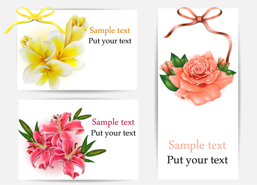 Beautiful flower with ribbon cards vector graphic 05