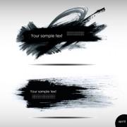 Link toBlack ink grunge banners design vector 01