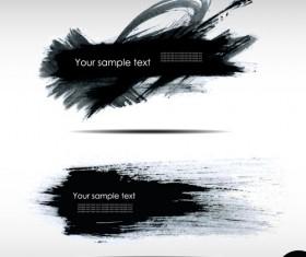 Black Ink grunge banners design vector 01