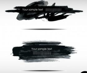 Black Ink grunge banners design vector 02