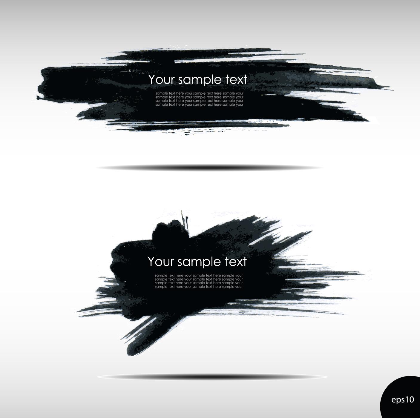 Design vector banner - Black Ink Grunge Banners Design Vector 03