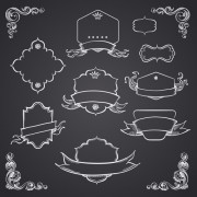 Link toBlack and white style ribbon with frames ornaments vector 05