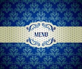 Blue floral ornament vintage background vector 01