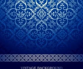 Blue floral ornament vintage background vector 02