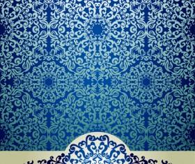 Blue floral ornament vintage background vector 03
