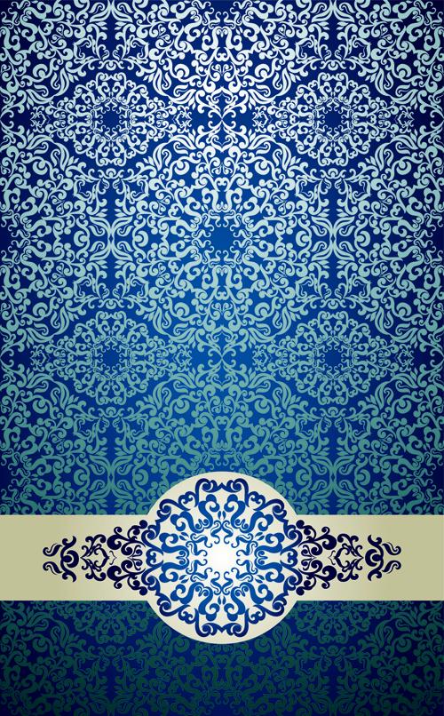 blue floral ornament vintage background vector 03 vector