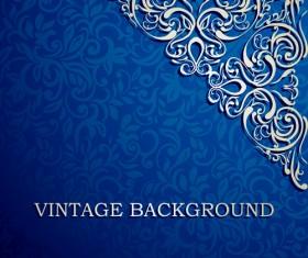 Blue floral ornament vintage background vector 04
