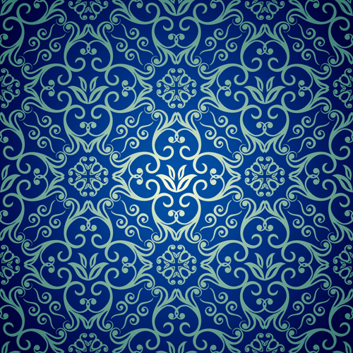 Blue floral seamless pattern design vector - Vector ...