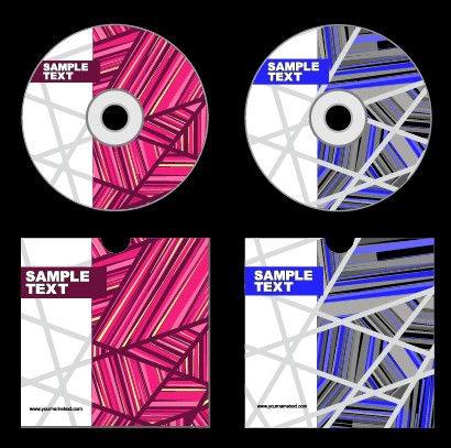Abstract colored DVD and CD disk packing cover vector 01