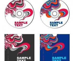 Abstract colored DVD and CD disk packing cover vector 02
