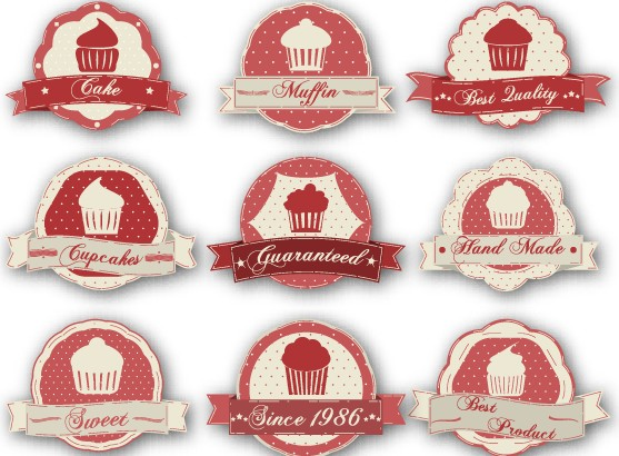 Cake labels vintage style vector 01 vector label free for Cake labels template