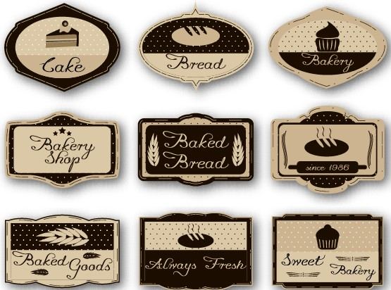 Cake Labels Vintage Style Vector 02