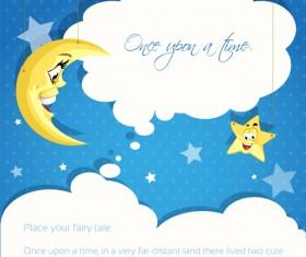 Cartoon cute stars and moon background vector