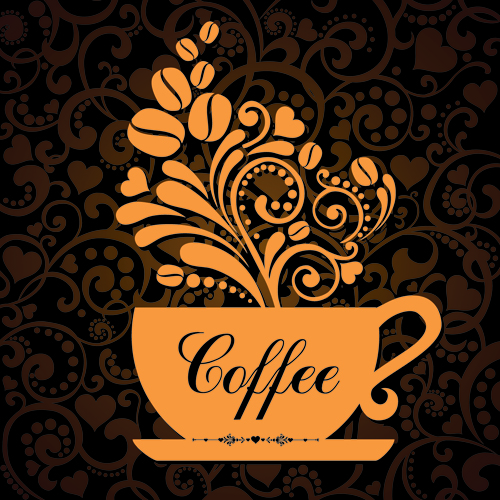 Coffee Cup With Fl Background Vector 01