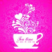 Link toCoffee cup with floral background vector 02