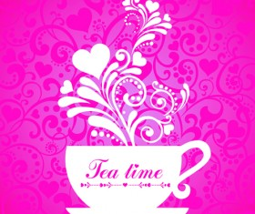 Coffee cup with floral background vector 02